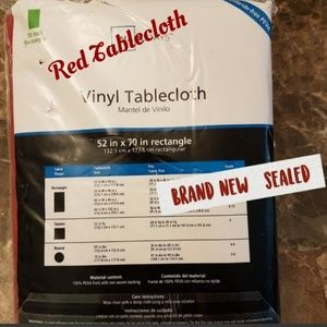 """Red Vinyl Tablecloth  70"""" Rectangle sealed"""